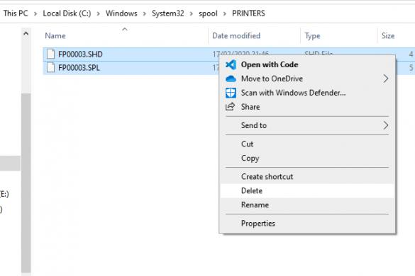 Delete print spooler files windows 10