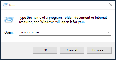 Run command window with services.msc entered