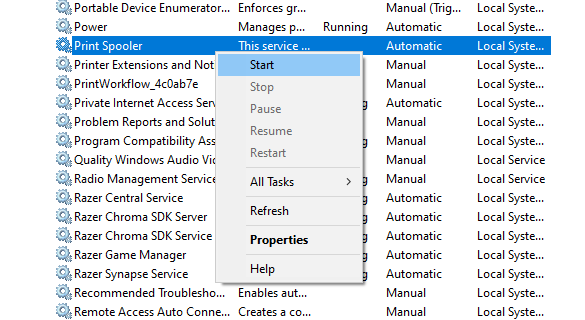 Start print spooler service windows 10